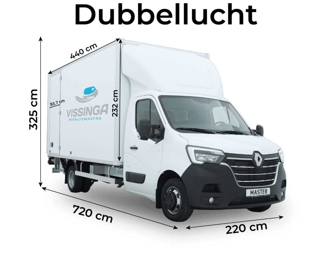 Renault Master bakwagen dubbellucht afmetingen